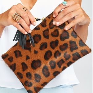 GENUINE COW HIDE LEATHER CLUTCH - LEOPARD